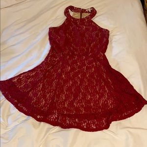 Red Lace A-Line Dress